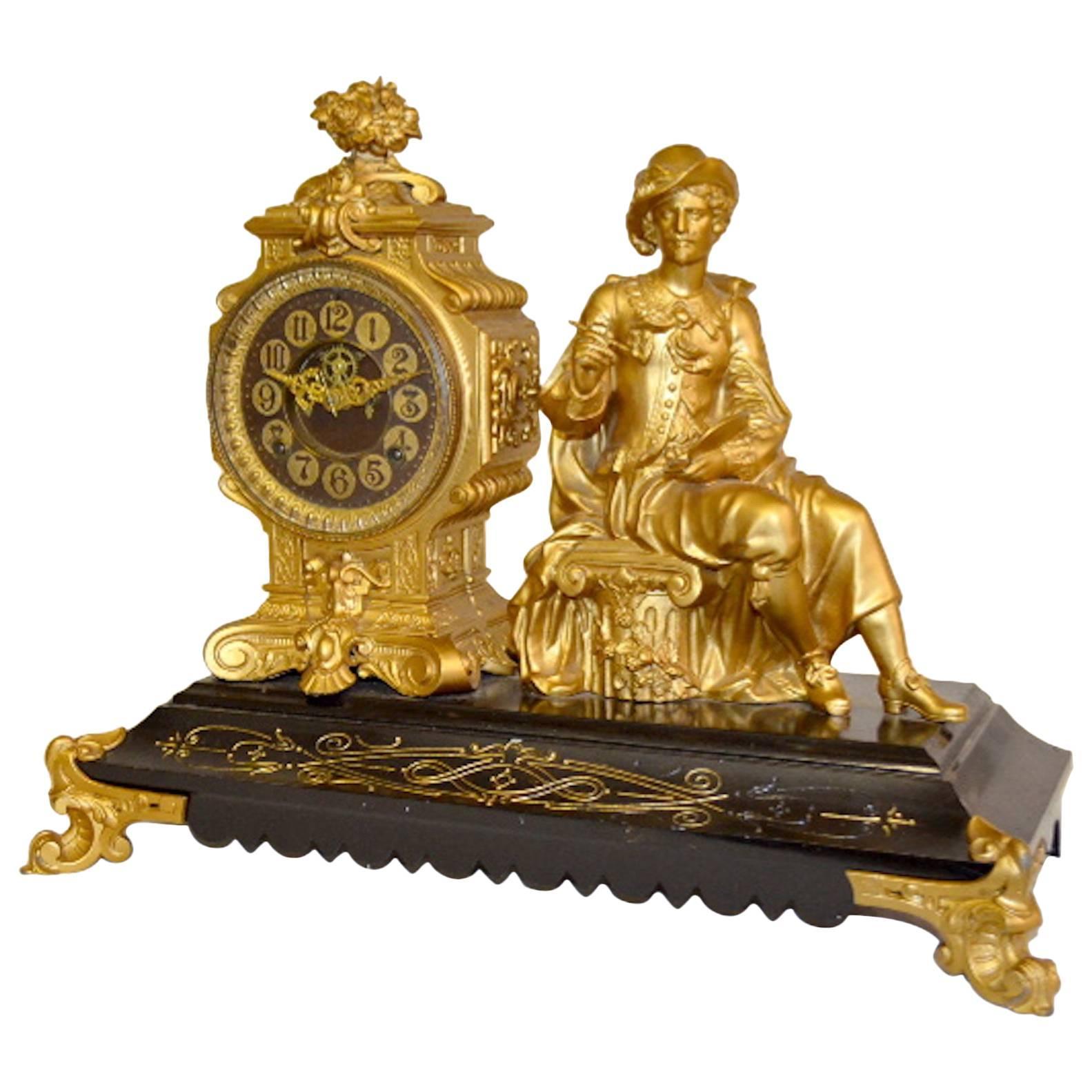 """Antique Ansonia Statue Clock, """"Rembrandt"""": T&S"""