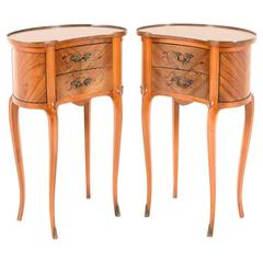 Pair of French Vintage Kidney Shape Nightstands