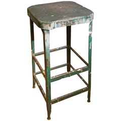 Industrial Green Stool