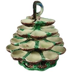 19th Century Majolica Palissy Oyster Server School of Paris
