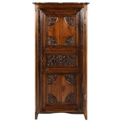 Small Vintage French Armoire With Carved Period Door