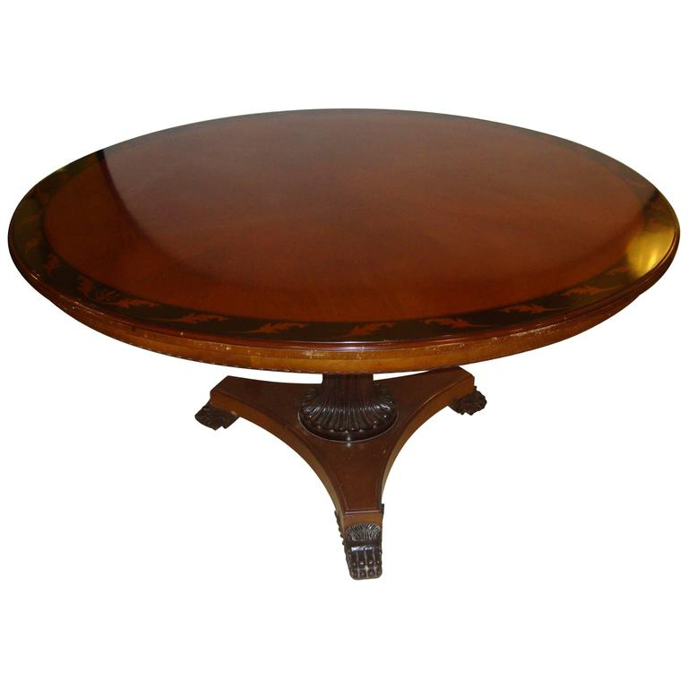 Circular Regency Style Center / Dining Table Ebony and Burl Woods