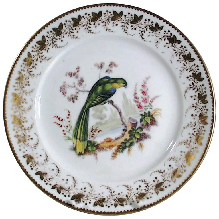 Antique London-Decorated Paris Porcelain Plate, Probably by Thomas Randall For Sale