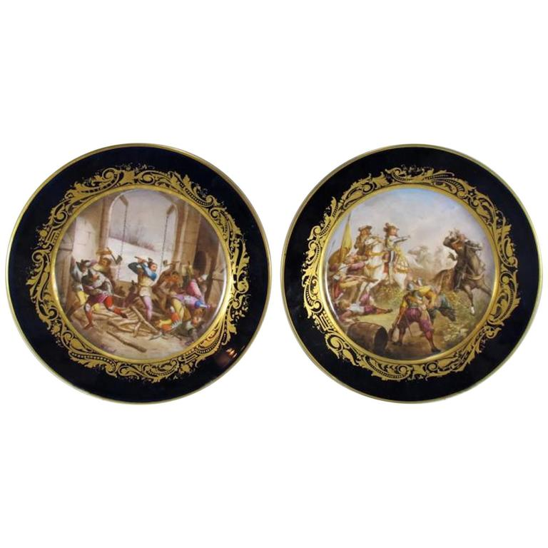 19th Century Antique French Sevres Pair of Porcelain Plates For Sale