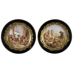 19th Century Antique French Sevres Pair of Porcelain Plates