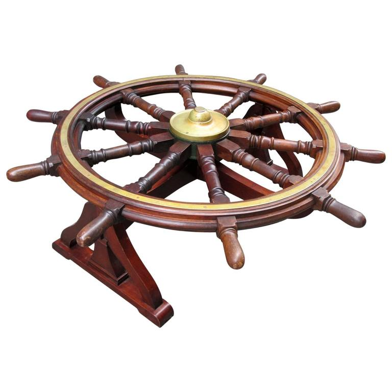 18th Century English Mahogany Frigate Ship 39 S Wheel Coffee Table For Sale At 1stdibs