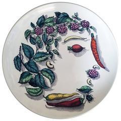 Piero Fornasetti Vegetable Face Ceramic Plate, Vegetalia Pattern
