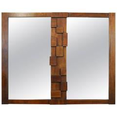 Mid-Century Modern Lane 'Paul Evans' Style Brutalist Walnut Double Mirror