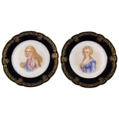 19th Century Antique Pair of French Sevres Porcelain Plates, Signed