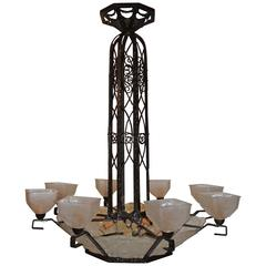 Wonderful Big French Schneider Wrought Iron Frosted Art Deco Chandelier Fixture