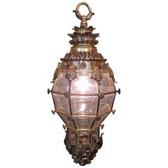 19th Century French Regence Bronze and Glass Lantern