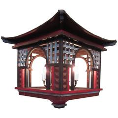 Early 20th Century French Oriental Pagoda Papier Mâché and Wood Lantern