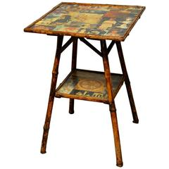English Bamboo Two-Tier Decoupage Table