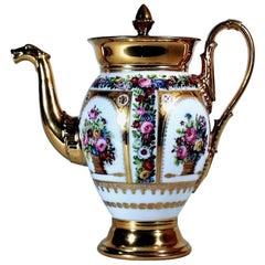 Paris Porcelain Botanical Coffee Pot and Cover