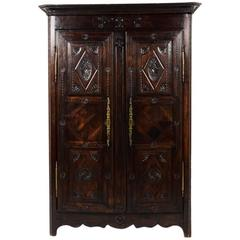 Antique French Two-Door Armoire, circa 1850-1870