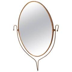 Mid-Century Modern Italian Brass Oval Mirror