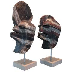 Songye Tribe Kifwebe Masks, Pair