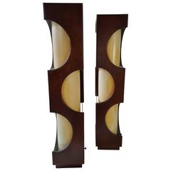 Pop Modernist Sculptural Walnut and Acrylic Table Lamps by Modeline