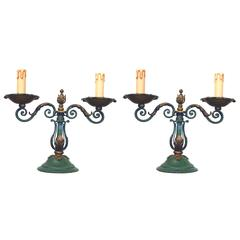 Pair of Art Deco Wrought Iron Table Lamps, circa 1940