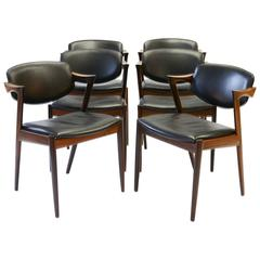 Six Kai Kristiansen 'Model 42' Dining Chairs in Rosewood & Black Saddle Leather