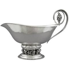 Large Georg Jensen Sterling Silver Sauce Boat with Grapes Pattern #296