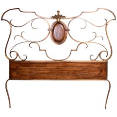 Hollywood Regency Single Headboard in Solid Bronze Attributed to Arturo Pani