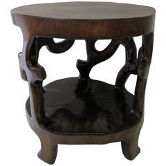 Sculptural 1960s One Single Piece Walnut Side Table