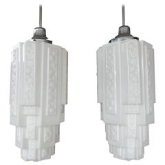 1940s Architectural Art Deco Milk Glass Skyscraper Pendant Lamps, Pair