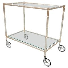 French Maison Baguès SILVER Plated faux Bamboo Bar Service Cart
