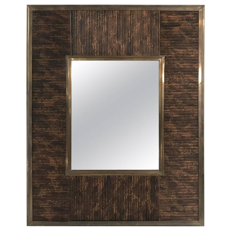 Bronze and Lacquered Bamboo Motif Mirror
