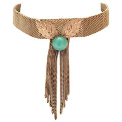 1970s Hobe Silver and Turquoise Choker Necklace