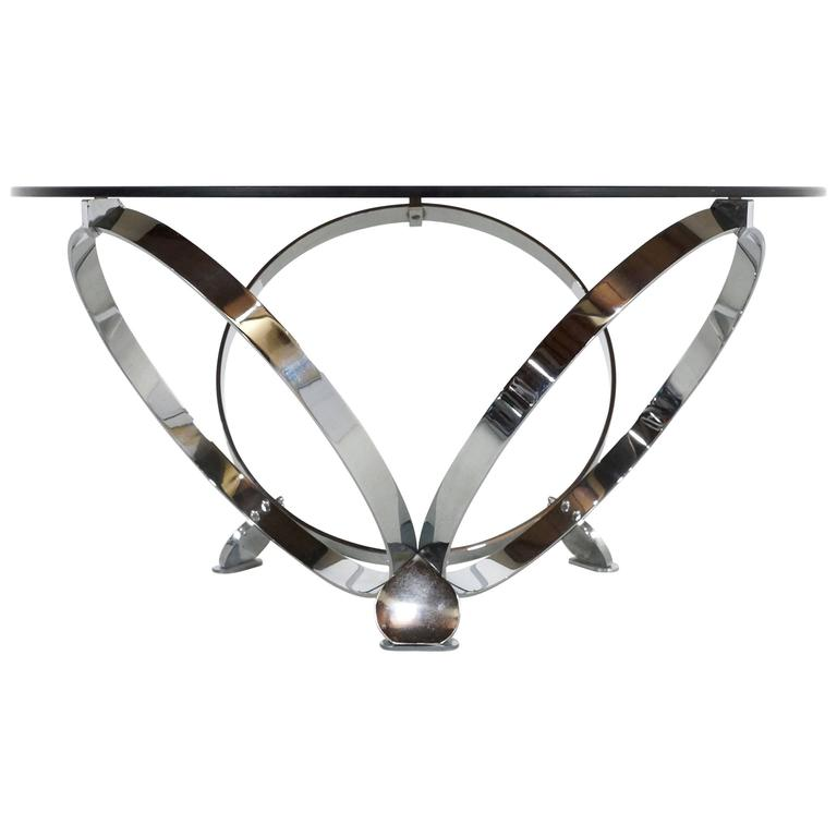 Round Chrome Coffee Table By Knut Hesterberg 1970 1