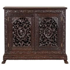 Antique Anglo-Indian or British Colonial Rosewood Cabinet