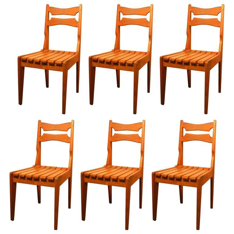 Set of Six Oak Chairs by Guillerme et Chambron for Votre Maison, circa 1960 For Sale