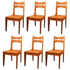 Set of Six Oak Chairs by Guillerme et Chambron for Votre Maison, circa 1960