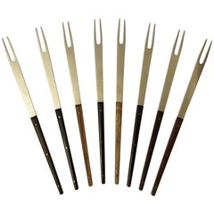 Stainless Hardwood Fondue Forks by Carl Auböck for Amboss Austria