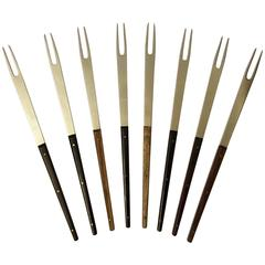 Stainless Rosewood Fondue Forks by Carl Auböck for Amboss Austria