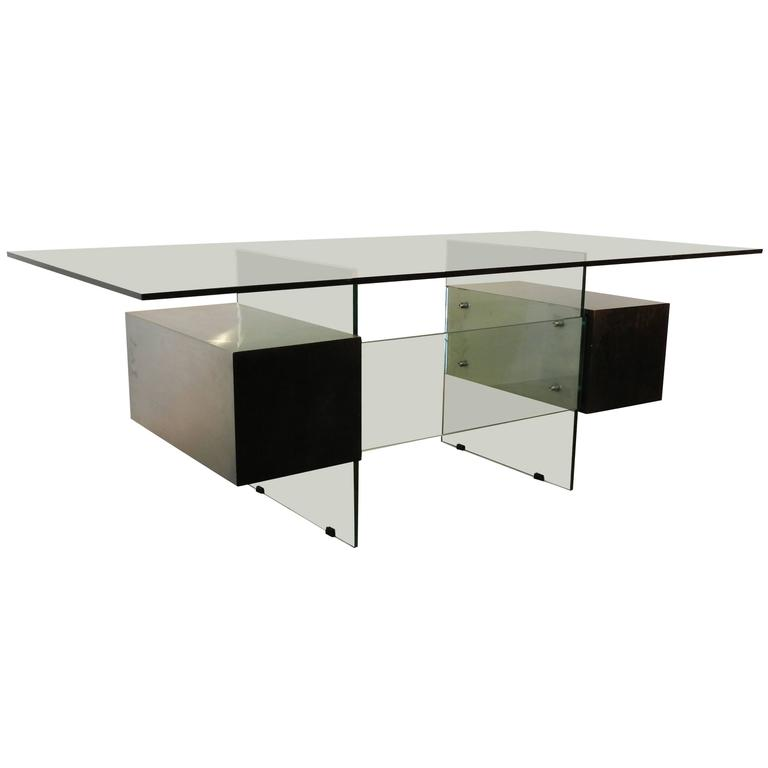 "Xavier Marbeau 1970s ""Estéral"" Stainless Steel, Wood and Glass Desk For Sale"