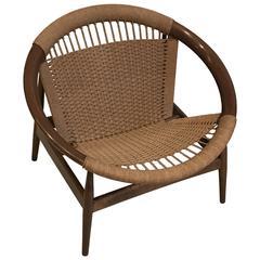 "Illum Wikkelsø ""Ringstol"" Ring Chair, Rope, Walnut, Stamped"