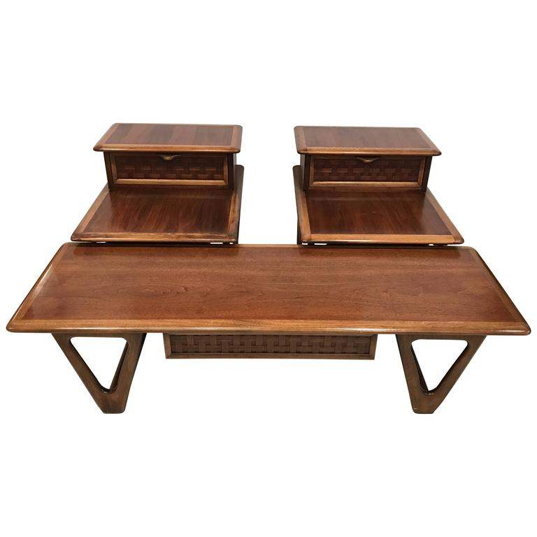 pair of midcentury end tables and coffee table by andre bus for lane