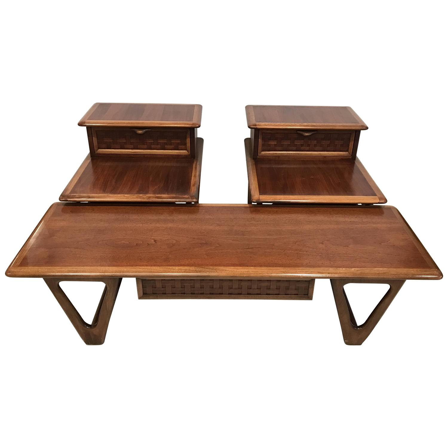 Pair of Mid Century End Tables and Coffee Table by Andre Bus for