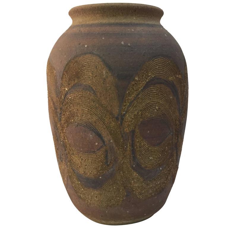 Beautiful 1970s Studio Pottery Vase For Sale