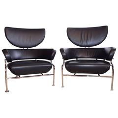 Pair of Black Leather Armchair 'Three Pezzi' by Franco Albini for Cassina