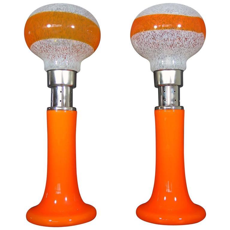 Mazzega White Orange Bubble Glass Floor Lamps For Sale