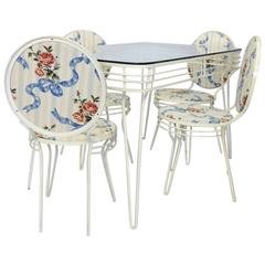 Wrought Iron Art Moderne Dinette Table and Chairs