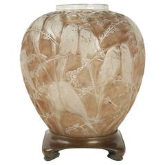 """Rene Lalique Frosted and Sepia Stained Vase """"Perruches"""""""