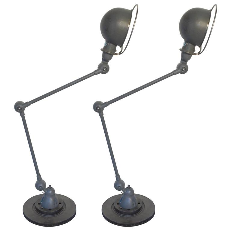 Beautiful pair of french jielde by domecq two arm table for 2 arm table lamp