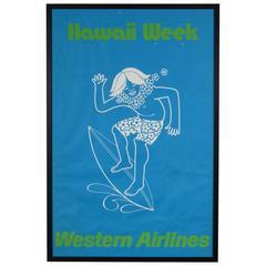 Hawaii Week Western Airlines Surf Travel Advertising Poster, Original