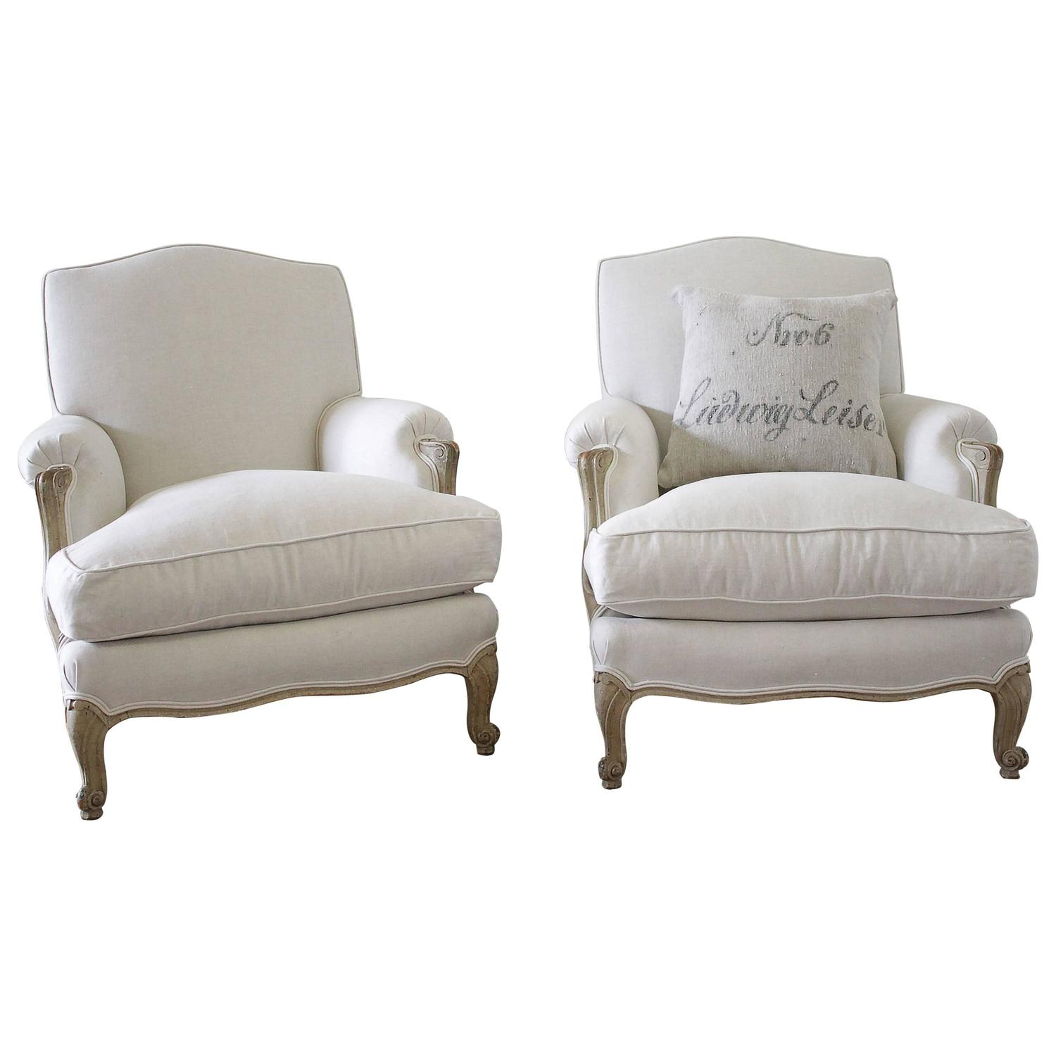 Pair of French Louis XV Style Linen Upholstered Club Chairs at 1stdibs