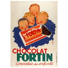 Large Original Vintage Food Poster Advertising Chocolate Fortin Children Desire